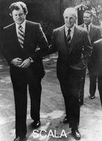 ******** Senator Edward Kennedy (b1932) with Prime Minister Constantine Karamalis (1907-1998), Athens, Greece, 1975.