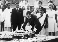 ******** President Nixon lays wreath at Mahatma Gandhi's samadhi, Delhi, 1969