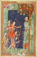 ******** Ms. 736 f. 14: Storie di S. Edmondo: il santo trafitto dalle frecce dei danesi Inghilterra