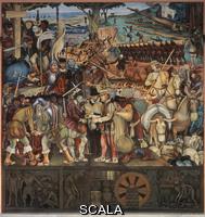 Rivera, Diego (1886-1957) Lo sbarco degli Spagnoli a Veracruz (con ritratto di Cortez come un gobbo), 1951
