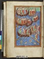 ******** Ms. M.736,  Vita, Passione e Miracoli di Sant'Edmondo, Re e Martire, in latino, f. 9v.: Invasione dei Danesi sotto Hinguar (Ingvar) e Hubba. Inghilterra (Bury St. Edmund's), 1130 ca