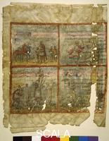 ******** MS. teol. lat. 485 'Quedlinburger Itala' (antica traduzione latina della Bibbia, 420-30 ca.), f. 2r: raffiguarzione del primo versetto del Libro di Samuele (15, 10-34). Nel riquadro in alto a sn. Saul sacrifica dopo la vittoria sugli Amalechiti; accanto Saul strappa il mantello di Samuele cercando di trattenerlo; in basso a sn.: Agag, il re degli Amalechiti chiede la grazia a Samuele; accanto: Samuele uccide Agag.