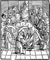 ******** Pope Leo X supervising the burning of Martin Luthor's books, 1521.