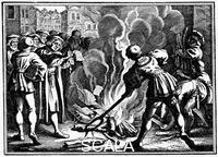 ******** Martin Luther burning the Papal Bull, 1520.