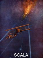 ******** Zeppelin airship shot down at Cuffley, near Enfield, during bombing raid on London, 1916.