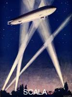 ******** Zeppelin airship caught in searchlights during a bombing raid over England, 1916.