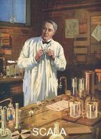 ******** Thomas Edison, American inventor, in his laboratory, Menlo Park, New Jersey, USA, 1870s (1920s).