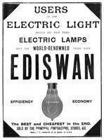 ******** Advertisement for Ediswan incandescent light bulbs, 1898.