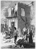 ******** Building a Chappe telegraph station, c1793, (c1870).