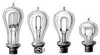 ******** Edison's incandescent lamps showing various forms of carbon filament, 1883.
