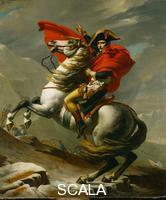 David, Jacques Louis (1748-1825) Napoleone (1769-1821) attraversa il Passo del San Bernardo, una delle cinque versioni, 1801-1802